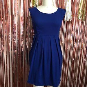 Blue Ruffle Sleeve Dress